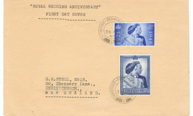G.B. #267-268 26 Apr 1948 Royal Wedding FDC to N.Z.