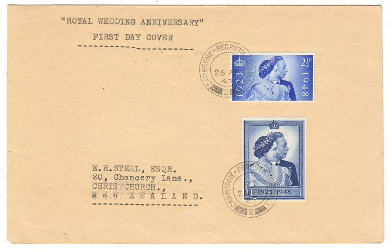 G.B. #267-268 26 Apr 1948 Royal Wedding FDC to N.Z.