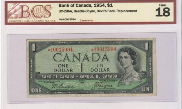 Canada #BC-29bA BCS F18 1954 prefix A/A Replacement Devil Dollar