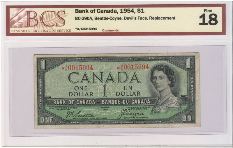 Lot 193 Canada #BC-29bA BCS F18 1954 prefix A/A Replacement Devil Dollar