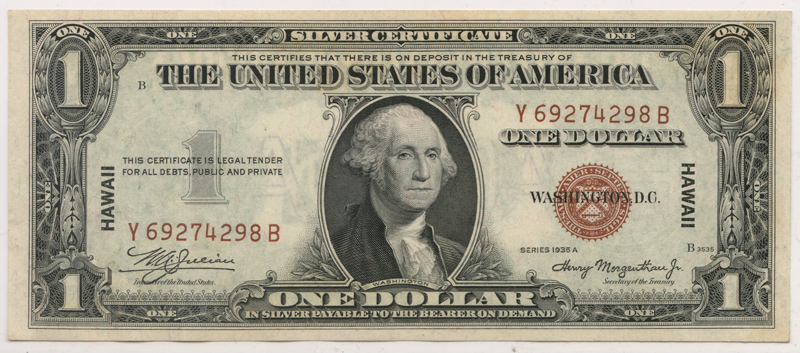Lot 194 U.S.A./Hawaii Unc 1935A Emergency Printing $1 Silver Certificate