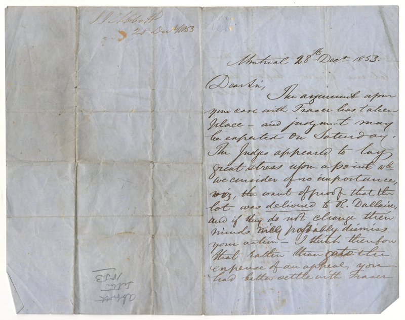 John Abbott signed 28 Dec 1853 folded letter i