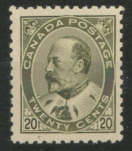 Lot 43 Canada #94 F/VF Never Hinged 20c Edward VII