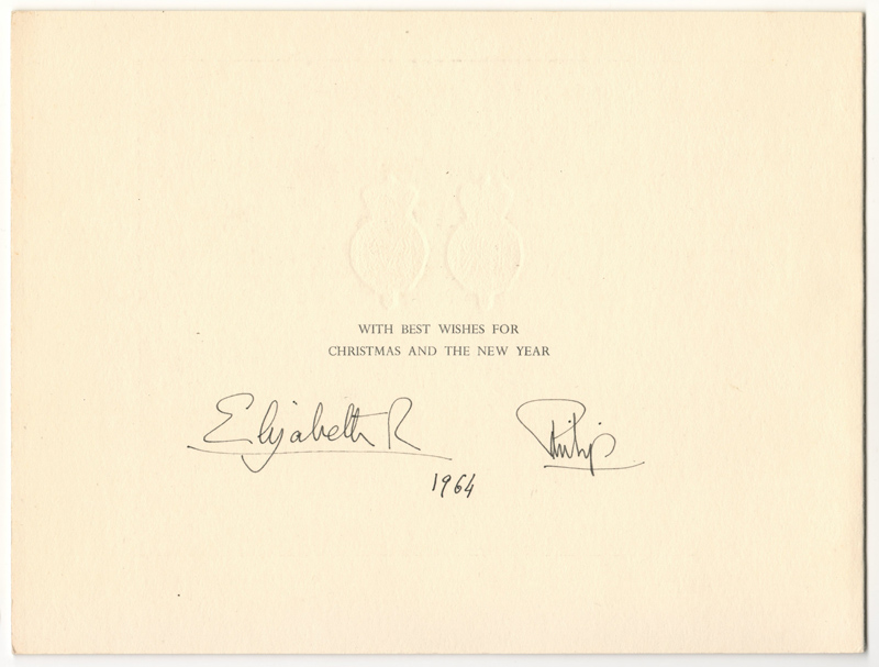 Royal signatures 1964  WITH BEST WISHES FOR CHRISTMAS AND THE NEW YEAR