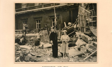 George VI & Queen Mum signed 1940 War Damage Christmas Card