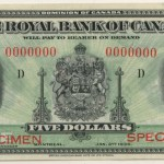 Royal Bank of Canada Unc 1935 Specimen $5
