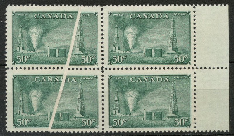 Canada #294var Never Hinged 1950 50c Oil Pre-Printing Crease Block