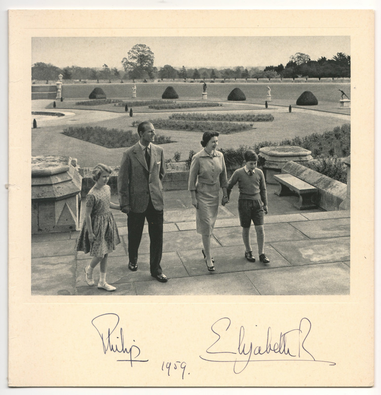 Queen Elizabeth II & Prince Philip with Charles and Anne, signed beneath 1959