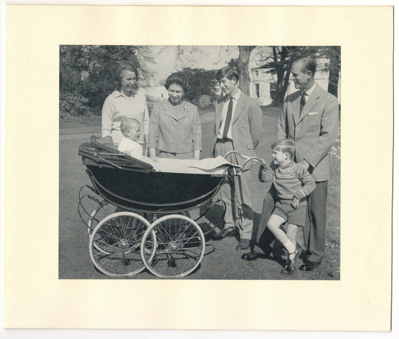 Baby Edward in a pram surrounded by loving Royal Family