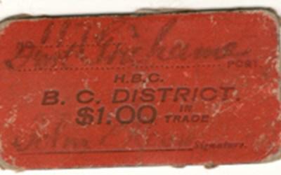 Hudsons Bay Company, B.C. District Fort Grahame $1 Scrip
