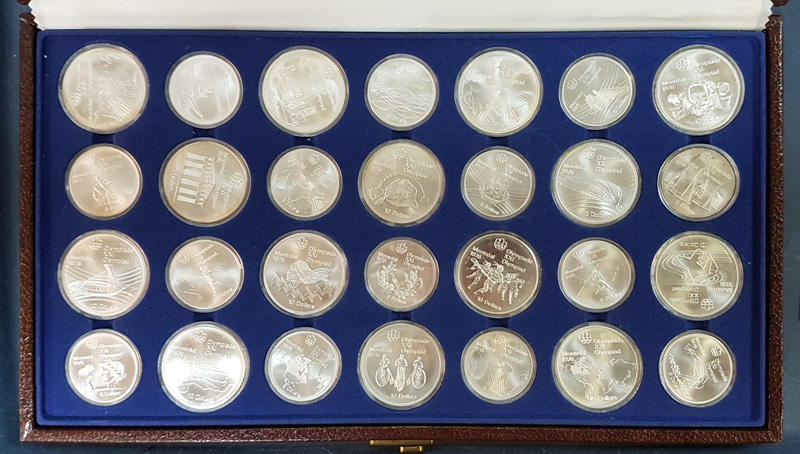 Canada BU 1976 Olympics cased 28-coin $5 & $10 Set 30oz ASW