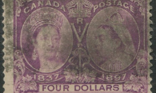 Canada #64 1897 $4 Jubilee smudge cancel