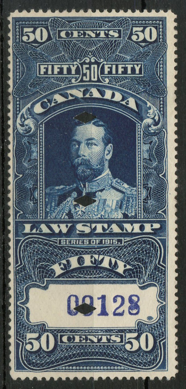 1915 George V 50c Supreme Court Law engraved stamp