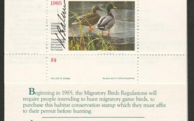 Canada's first wildlife habitat conservation stamp signed by the artist Robert Bateman