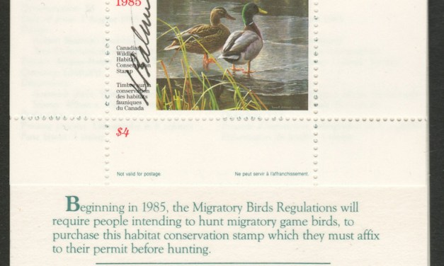 Canada's first wildlife habitat conservation stamp signed by the artist Robert Bateman
