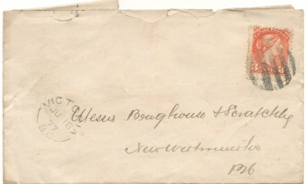 Victoria, B.C. 1877 3c SQ Brighouse Cover to New West