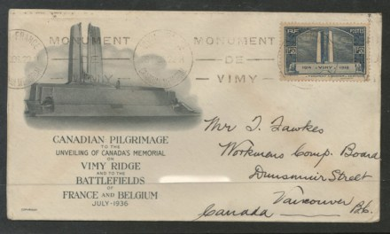 Vimy Memorial, France FDC to Vancouver, B.C. 26 July 1936