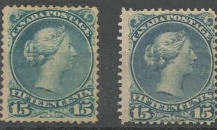 Canada #30b Unused & 30e Mint, short perfs 15c Large Queen shade duo