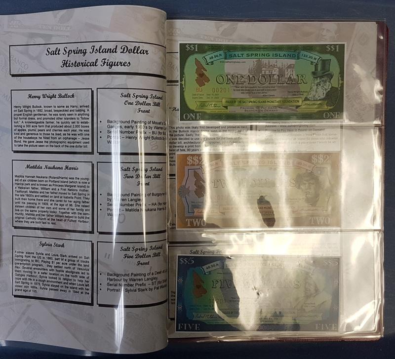 Salt Spring Island 3 notes visible in original folder with historical figures