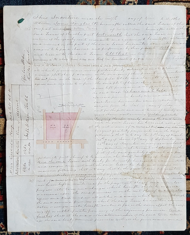 Page of lease with map and measurements inset.