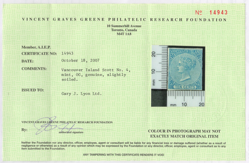Greene Certificate for the BC #4 stamp