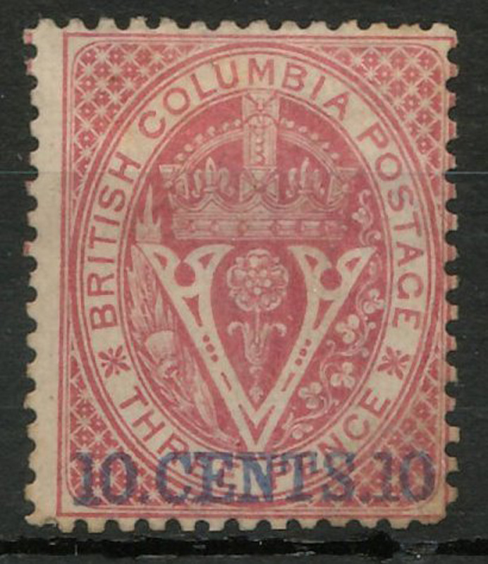 B.C. 1867/71 10d on 3d Lilac Rose