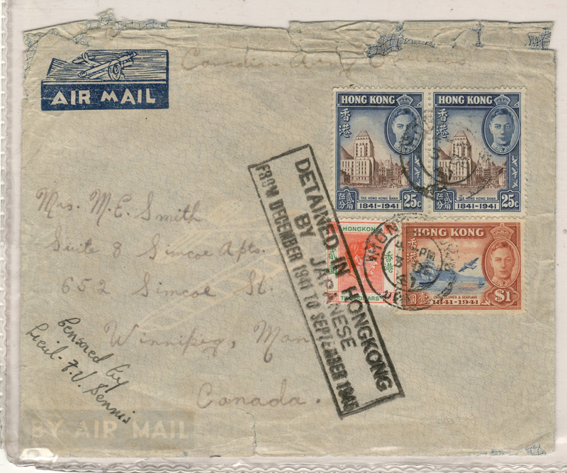 "front of the 1941 HK cover stamped ""Detained in HongKong by Japanese"""