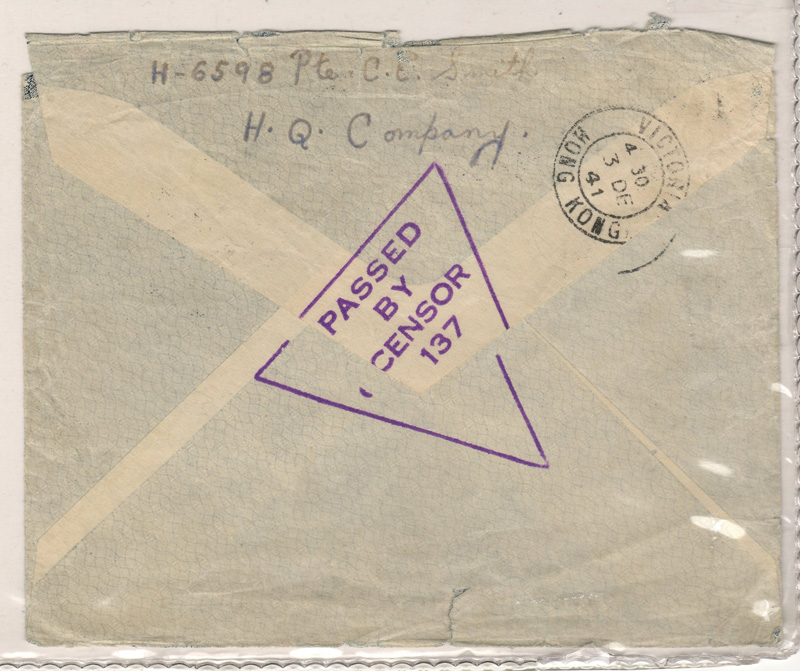 """Back of cover stamped """"Passed by Censor 137"""" and cancel 3 Dec 41, Victoria, Hong Kong"""