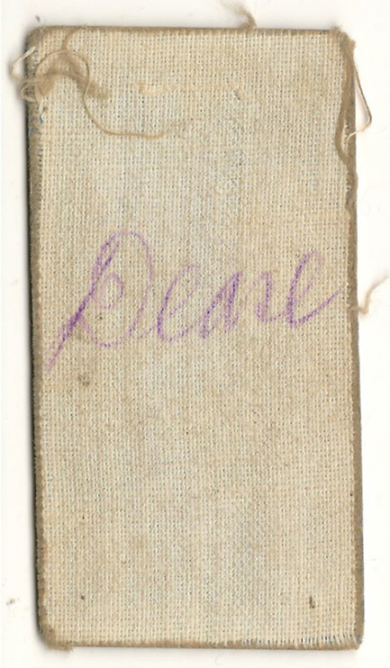 """Back of the card showing cloth covering and """"Dease"""" handwritten"""
