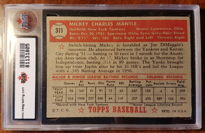 Back of slabbed Topps card with detail