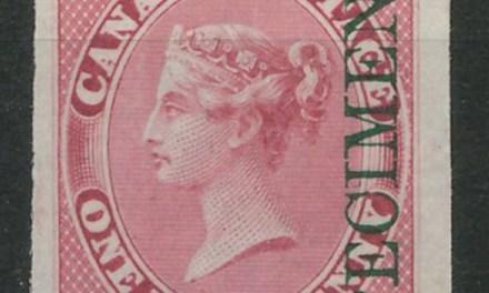 Lot 20 Canada #8pi VF 1857/64 1/2d Green Specimen Ovpt Plate Proof $300.