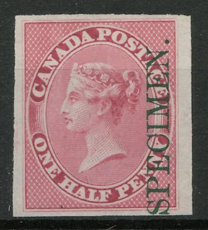 One Half Penny stamp overprinted with green SPECIMEN