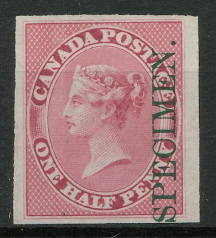 One Half Penny stamp overprinted with green SPECIMEN