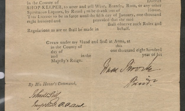 Sir Isaac Brock signed 1811 Upper Canada liquor licence