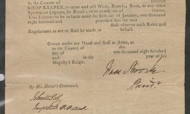 Sir Isaac Brock signed 1811 Upper Canada liquor licence