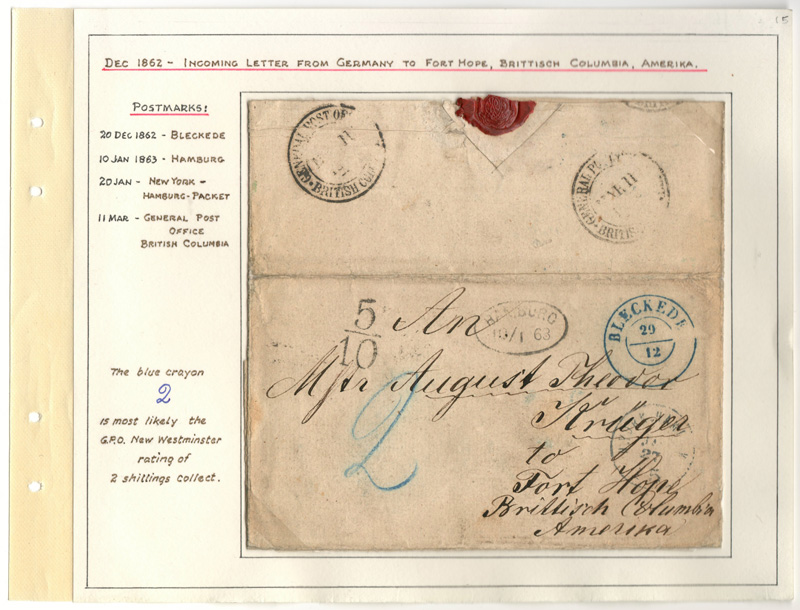 Page 15 Germany 1862 incoming stampless Cover to A.T. Kruger Fort Hope