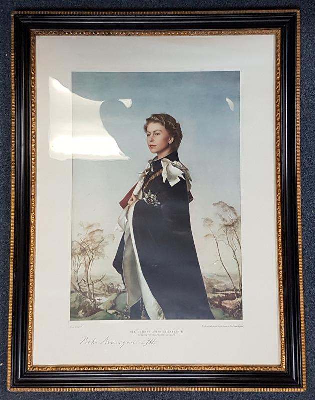 HM Queen Elizabeth II colour print in frame