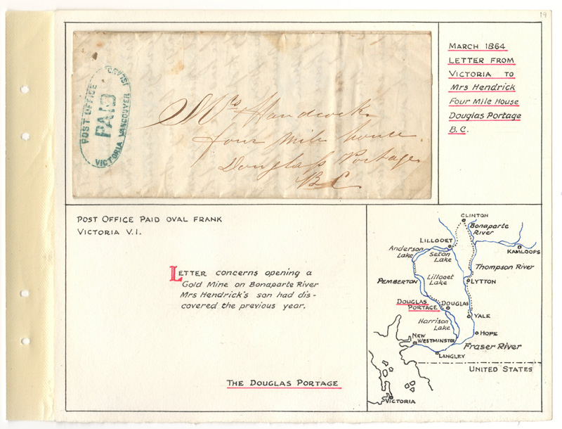 Letter mounted on Wellburn album page with map of the Douglas Portage