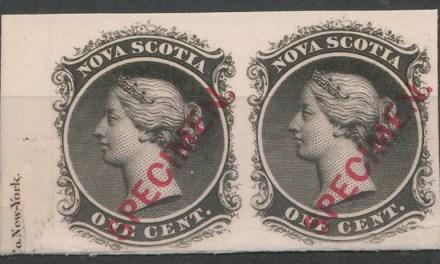 Nova Scotia #8Piii VF 1860 1c Black Imprint Proof Pair on card