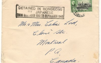 """8 Dec 1941 Force C 5c Cover to Montreal w/ 5 Dec Christmas Card """"Detained in Hong Kong by Japanese"""""""