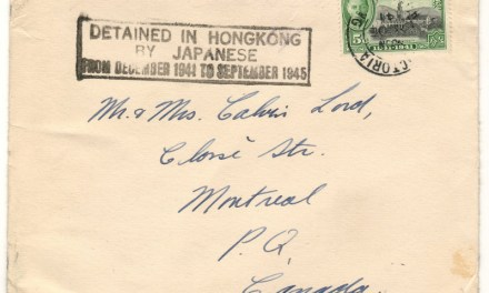"8 Dec 1941 Force C 5c Cover to Montreal w/ 5 Dec Christmas Card ""Detained in Hong Kong by Japanese"""