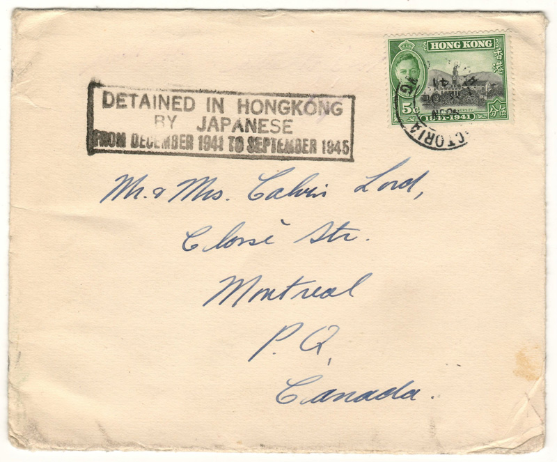 "cover handwritten with stamp ""Detained in Hong Kong by Japanese"""