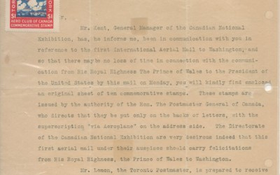 Canada #CLP3 on 23 Aug 1919 Aero Club signed Letter