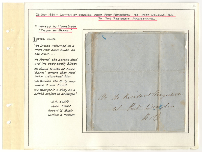 Letter folded and mounted on Wellburn album page