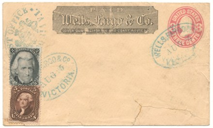 Wells Fargo Victoria mixed franked unaddressed paste-up, faults