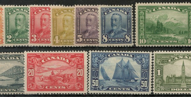 Canada #149-159 Fine+ Mint 1928/1929 George V Scroll Set $562. (11)