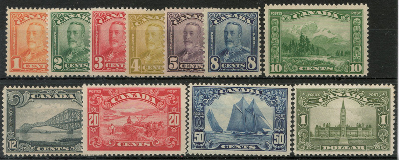 George V set of 11 stamps