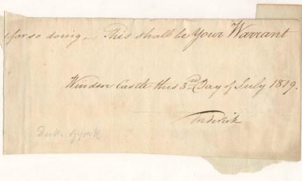 Frederick (Grand Old) Duke of York 1819 Signed Warrant Portion