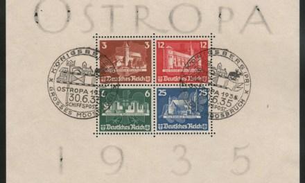 Germany #B68 30 My 1935 Used Ostropa Souvenir Sheet