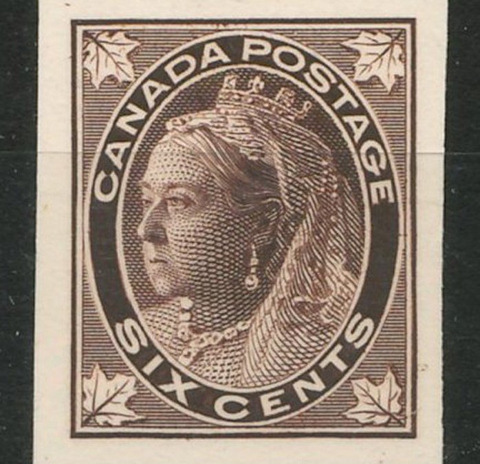 Canada #71P XF 1897 6c QV Leaf Plate Proof on Card